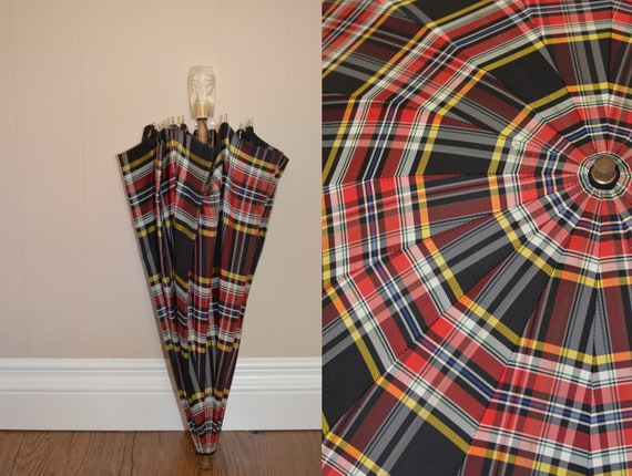 Vintage Plaid Umbrella 1940s from the Kreis Company