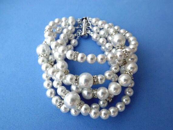 Swarovski pearl Bridal Cuff Bracelet Chunky Pearl Bracelet Statetment Jewelry  Bridal Pearl Jewelry Pearl Wedding Jewelry