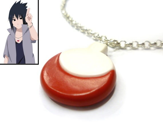 Sasuke Uchiha road to ninja necklace - polymer clay - Uchiha necklace