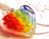 Rainbow Heart Fused Glass Pendant