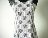 Mod Style Geometric Pattern Dress - Black and White - Size Small