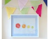 Citrus halves Ink and Watercolour print. Colourful Kitchen art, Grapefruit, Orange, Lemon, Lime, A3