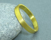 3 mm Handmade Brushed 24K Yellow Gold Over 925K Sterling Silver Designer Flat Vermeil Wedding Band Ring - FREE Sizing and Engraving