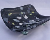 Black Magic Bowl - Fused Glass Black with Swirling Confetti Curved Bowl Gift Bagged