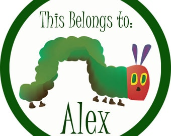 Name Tag Stickers - Green and Red Caterpillar Personalized Name Label Sticker - 2 inch Round Labels - Perfect for Back to School Stickers