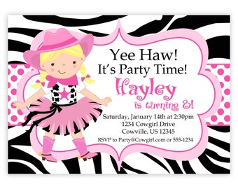 Cowgirl Birthday Invitation - Hot Pink, Zebra Print, Polka Dot Girl Cowgirl Personalized Birthday Party Invite - a Digital Printable File