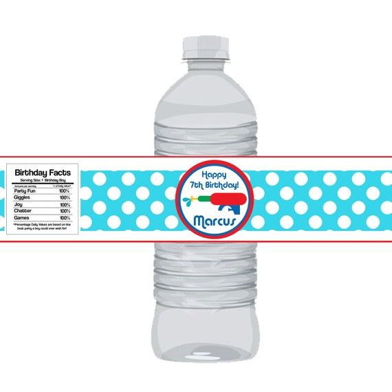 Pool Party Bottle Wrap - Fun Aqua Blue Polka Dots and Red Water Squirt Gun Bottle Label - a Digital Printable File