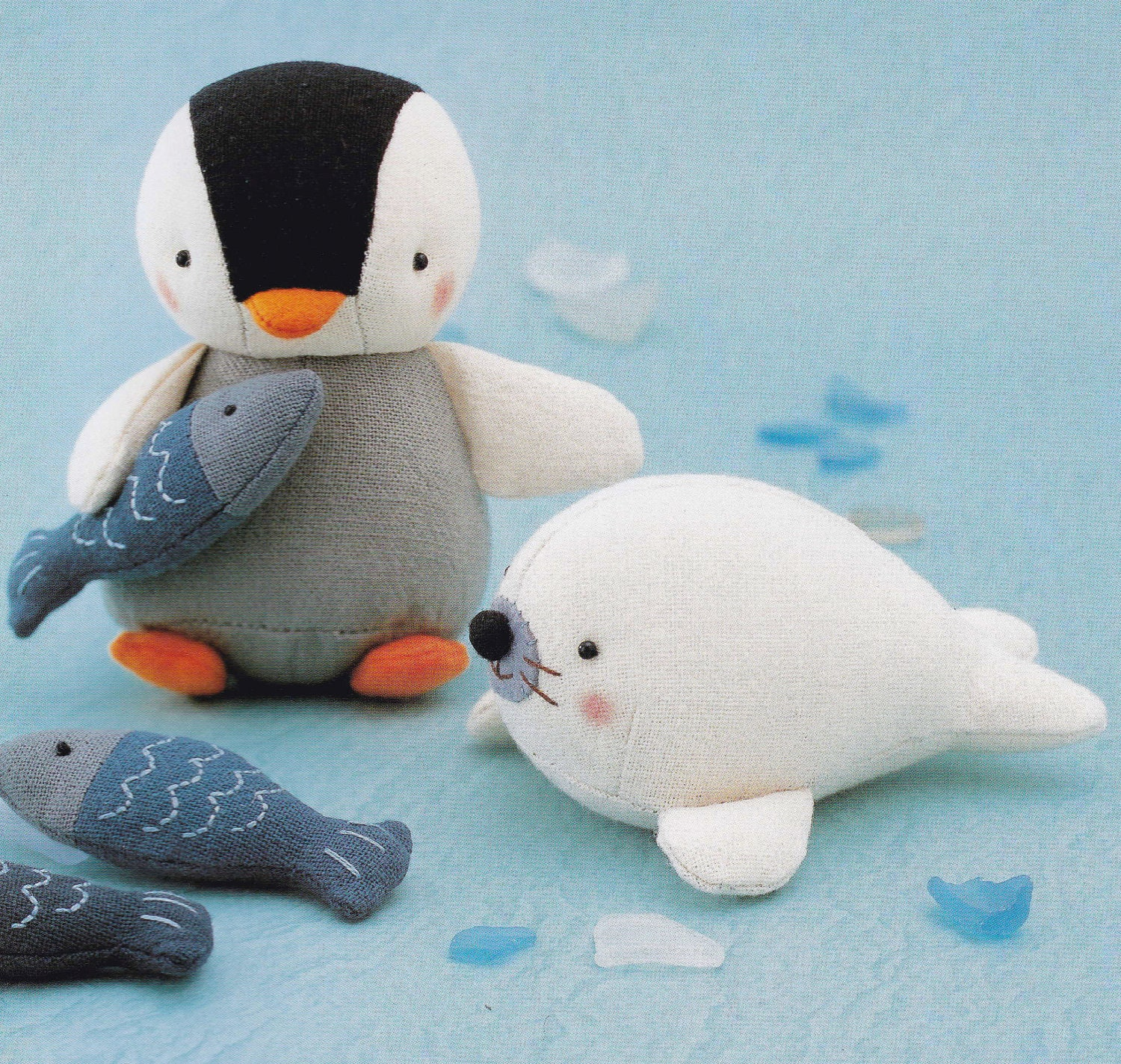 Cotton linen fabric cute penguin fish and seal animal mascots for Penguin and fish