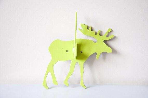 Vintage Green Painted Moose Hook Hanger