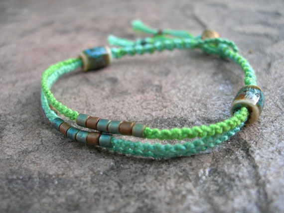 Green Macrame Bracelet, Beaded Bracelet, Friendship Bracelet