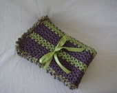 Purple & Green Striped Baby Afghan