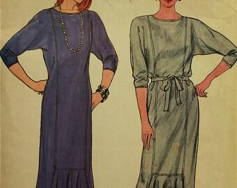"Dress, Flounced Inset -1980's- Butterick Pattern 6978   Sizes 6-8-10  Bust  30.5-31.5-32.5"""