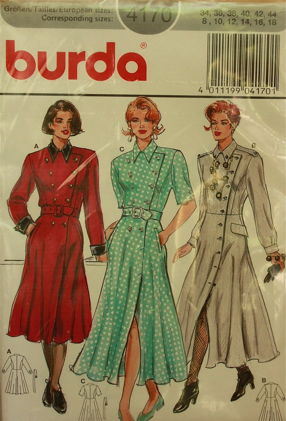 Double-Breasted Buttoned Dress Burda Pattern 4170 Uncut  Sizes 8 to 18