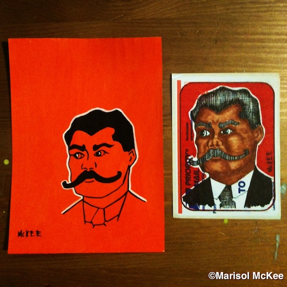T9A18 - (2) Original Drawings Stickers Zapata Lowbrow Outsider Art by Marisol McKee