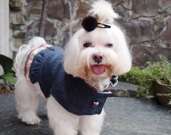 Winter dog clothes dress Navy blue and silver herringbone winter coat Christmas dog pepelum dress coat with fleece lining ( size SL)