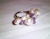 Fresh Water Pearl and Amethyst Ring