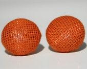 Covered Button Earrings - Shiny Pumpkin Orange
