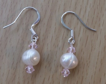 Silver Plate Earrings Featuring Genuine Freshwater Pearls and Pink Crystals