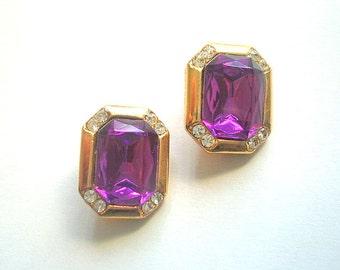 Purple Rhinestone Earrings Designer Style Clip On