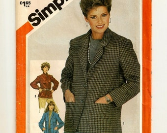 "A Buttoned, Semi-Fitted, Long Sleeve Jacket w/ Shawl or Rounded Notched Collar Sewing Pattern for Women: Size 14, Bust 36"" • Simplicity 5664"
