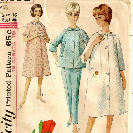 A 1960s Robe or Duster, Top and Pants Pattern - Size 16, Bust 36""