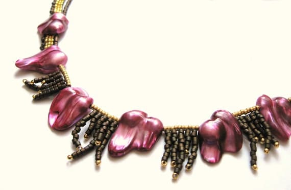 Statement Necklace Raspberry Pink Blister Pearl 24k Gold Plated  Glass Bead Hot Pink
