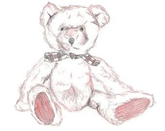 """Teddy Illustration Print, Nursery Art, Teddy Bear Sketch, Hand Drawn Illustration, A4 8x10"""", Burgundy Print, Pencil Sketch"""