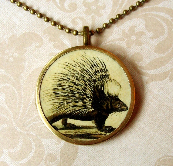 Victorian Porcupine Transfer Art Pendant with Chain