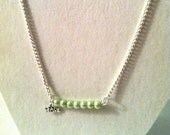 """Pearl Beaded Inspirational  silver chain Necklace in a soft green color with pewter """"Hope"""" charm attached"""
