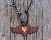 Personalized Metal Stamped PEACE Winged Heart  Necklace