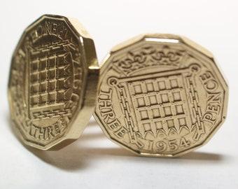 1954 Threepence 3d 63rd birthday Cufflinks - Original 1954 threepence coin cufflinks 63rd