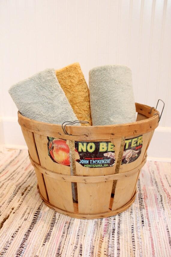 RESERVED for Shannon :) ... Vintage Bushel Fruit Basket with Original Label - No Better Brand Peaches