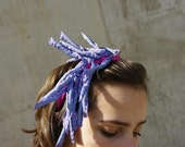 klaudia / blue and pink fabric headband / textile necklace / statement headpiece