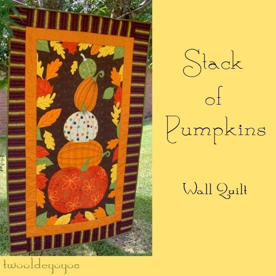 STACK of PUMPKINS Wall Art QUILT Seasonal Home and Living Décor Fall Autumn Photo Props
