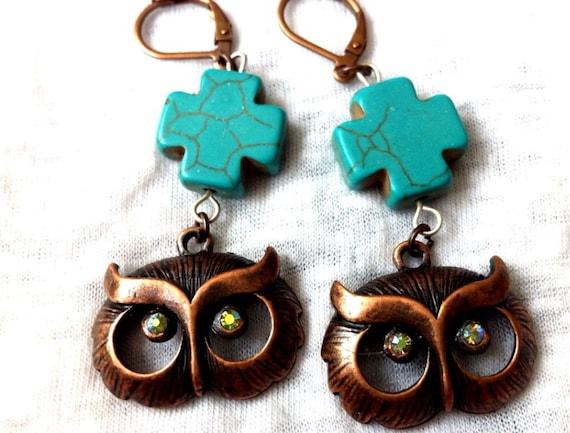 Owl with Crystal Eyes Turquoise Cross Earrings