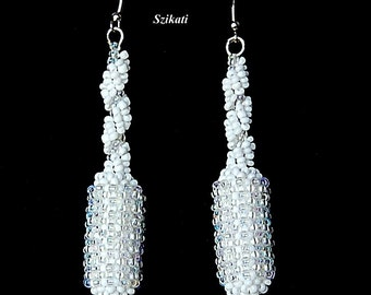 FREE SHIPPING! White Statement Beadwoven Seed Bead Earrings, Women's Beaded High Fashion Jewelry, Bridal Bead Accessory, Gift for Her, OOAK