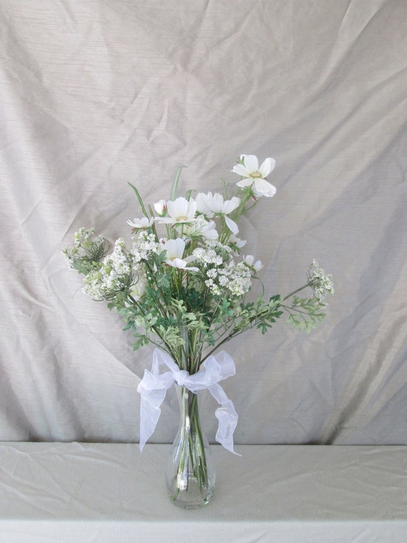 Reserved for K. Sanu - Pretty Wildflower Look White Silk Flower Arrangement in Glass Vase with White Wired Ribbon Bow Secured in Resin