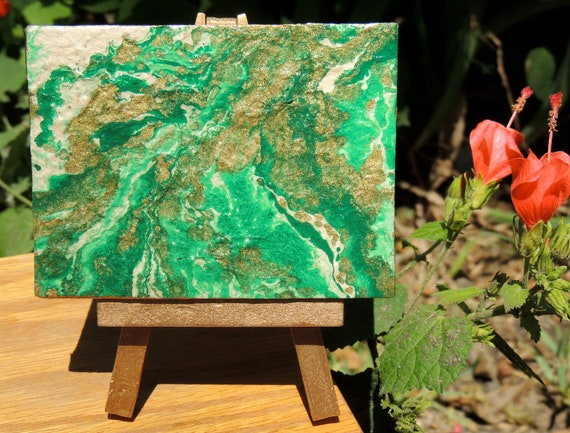 Green and Gold Abstract Design on Mini Canvas with Matching Gold Mini Easel, Cute Little Canvas