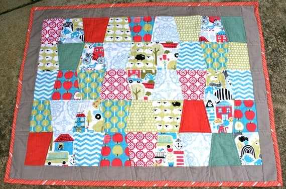 Handmade Organic Baby Quilt - monaluna fabric from the Taali collection