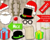 INSTANT DOWNLOAD - CHRISTMAS Photobooth Props printable -  Santa, Reindeer, Naughty or Nice signs, presents, hats and more