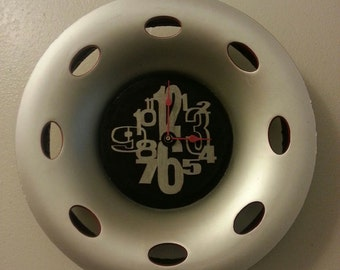 """UpCycled Hubcap Clock 17.5"""" Diameter Finished With Numbers."""