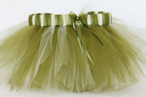 Willow green baby tutu skirt/ willow green and ivory infant photo props/ earthy green infant tutus size 3-9M