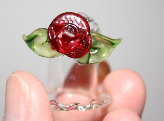 Vintage Glass Sewing Thimble with Red Rose