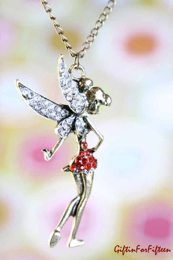 Where Is My Peter - Vintage Style Jewelry Tinker Bell Necklace With Rhinestones Peter Pan Steampunk Nerdy Jewelry OOAK by Giftin For Fifteen