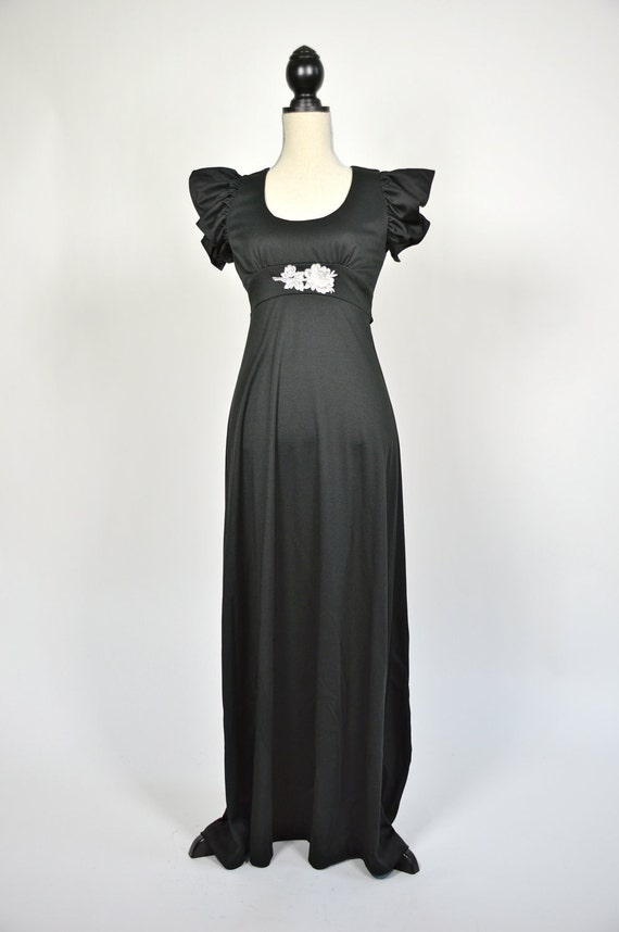 Vintage 1970s Long Black Evening Gown