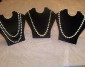 Three Vintage Faux Pearl Necklaces Larger Pearls White, Champagne, Pink Champagne