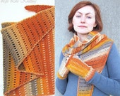 Set from Baktus scarf and Fingerless gloves / Mitts - Orange, yellow, ecru, gray color - Made to order