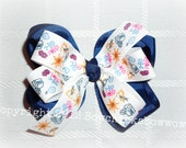 Back to school Boutique layer hair bow - navy and white uniform bow - MTM school uniforms