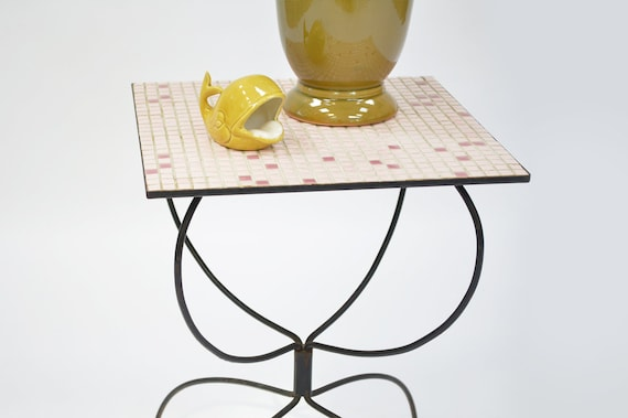 Reserved - Mid-Century Wire Planter / Side Table with Mosaic tile