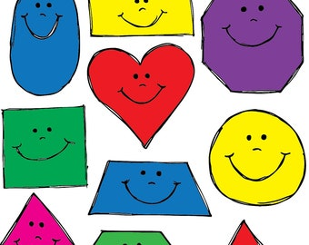 Smiling Shapes Clipart Set INSTANT DOWNLOAD